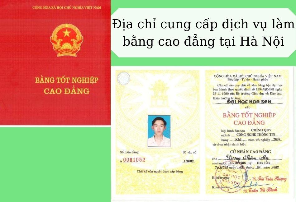 Địa chỉ cung cấp dịch vụ làm bằng cao đẳng tại Hà Nội