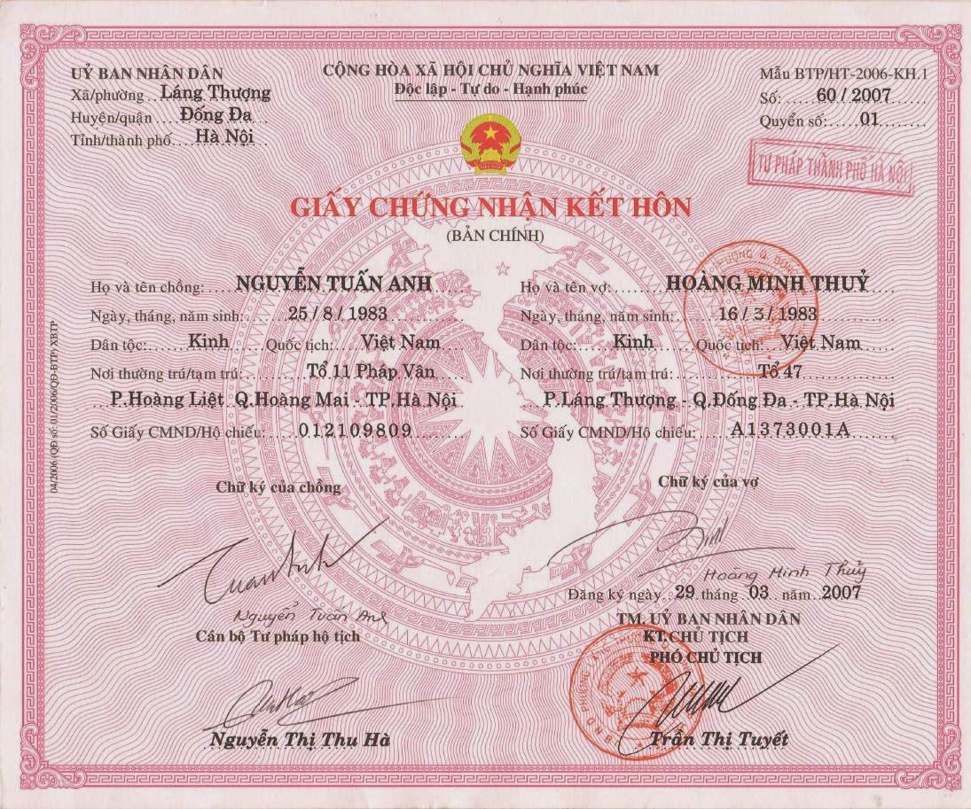 Làm giấy đăng ký kết hôn giả tại Tp.HCM và Hà Nội