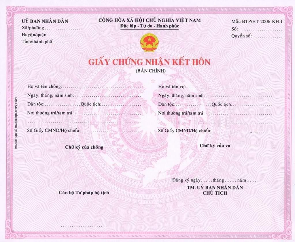 Làm giấy đăng ký kết hôn mới nhất 2021